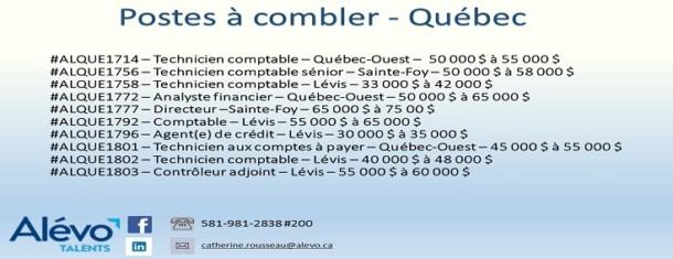 Postes disponibles à Québec en date du 17 mai 2019