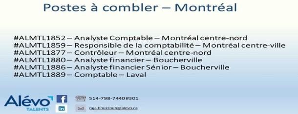 Postes disponibles à Montréal en date du 28 juin 2019