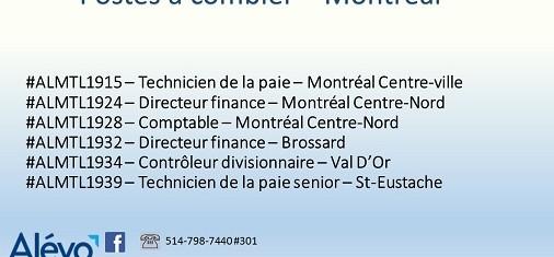 Postes disponibles à Montréal en date du 26 juillet 2019