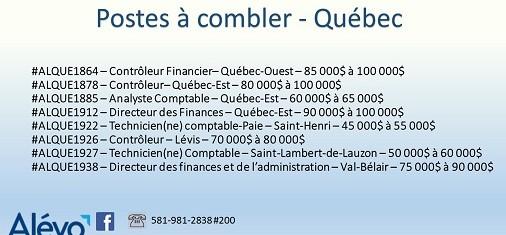 Postes disponibles à Québec en date du 26 juillet 2019