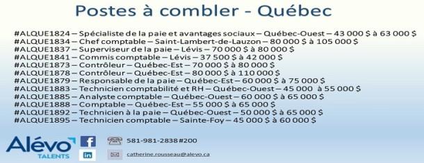 Postes disponibles à Québec en date du 5 juillet 2019